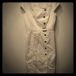 WHBM White House Black Market White Button Dress